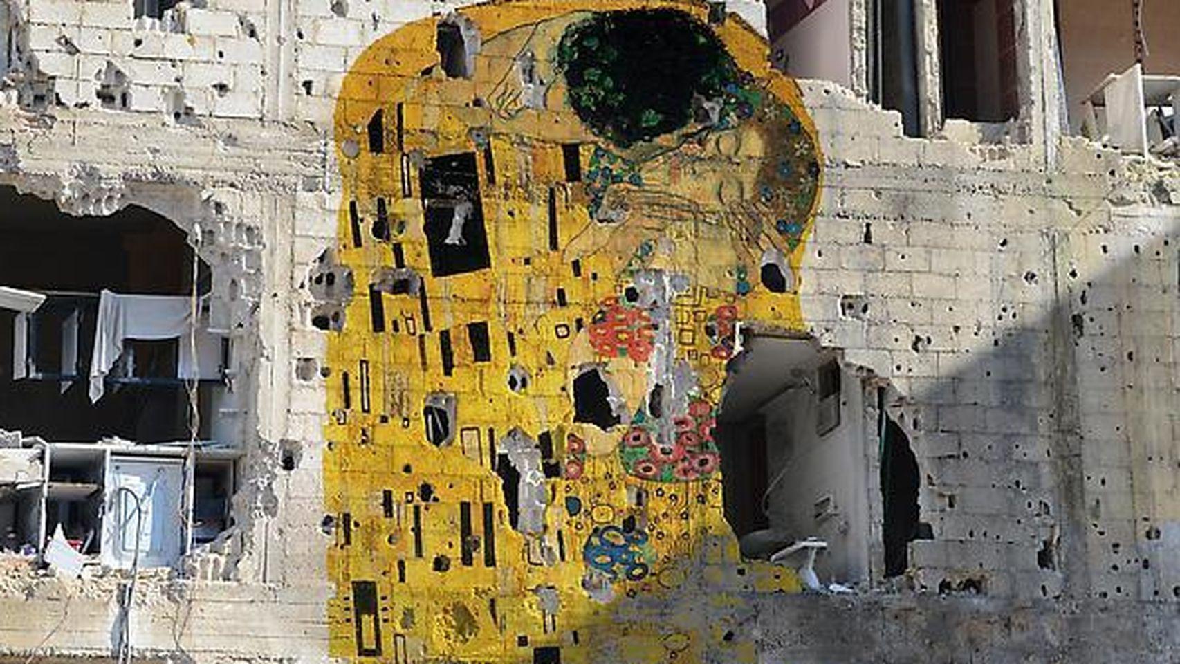 El beso de Klimt en ruinas. Fuente: www.elespanol.com